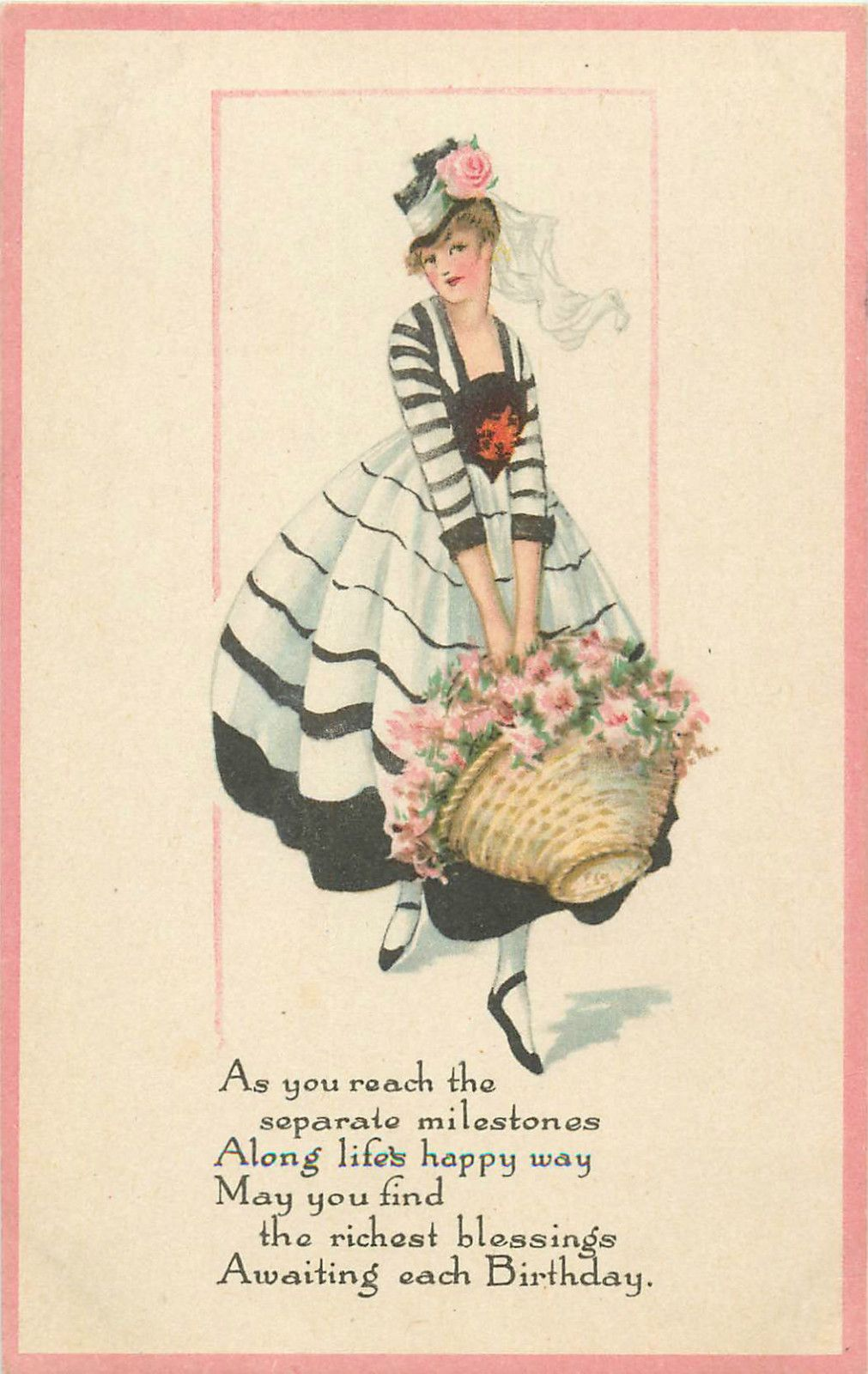 Postcard Art Deco Glamour Pretty Lady For Birthday Greetings 3
