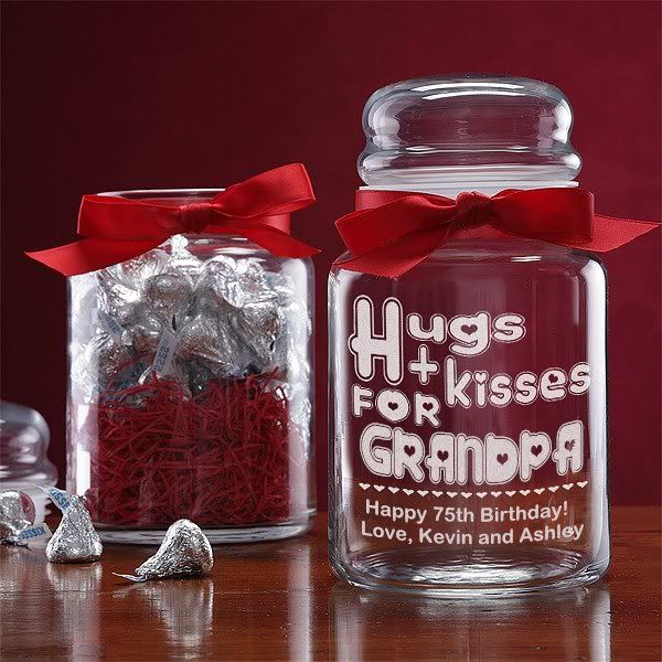 Personalized Candy Jar It Says Hugs Kisses But You Can Change The Name And Then Add Your Own Message Underneath Such As Hy Birthday