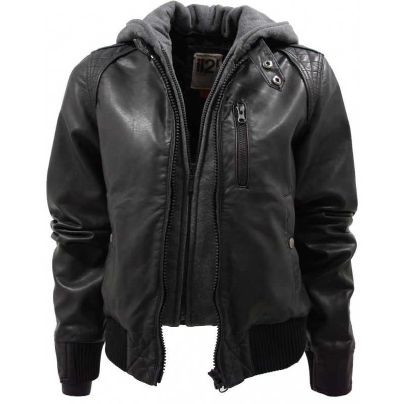 Women S Leather Look Black Bomber Jacket With Hood Clothing