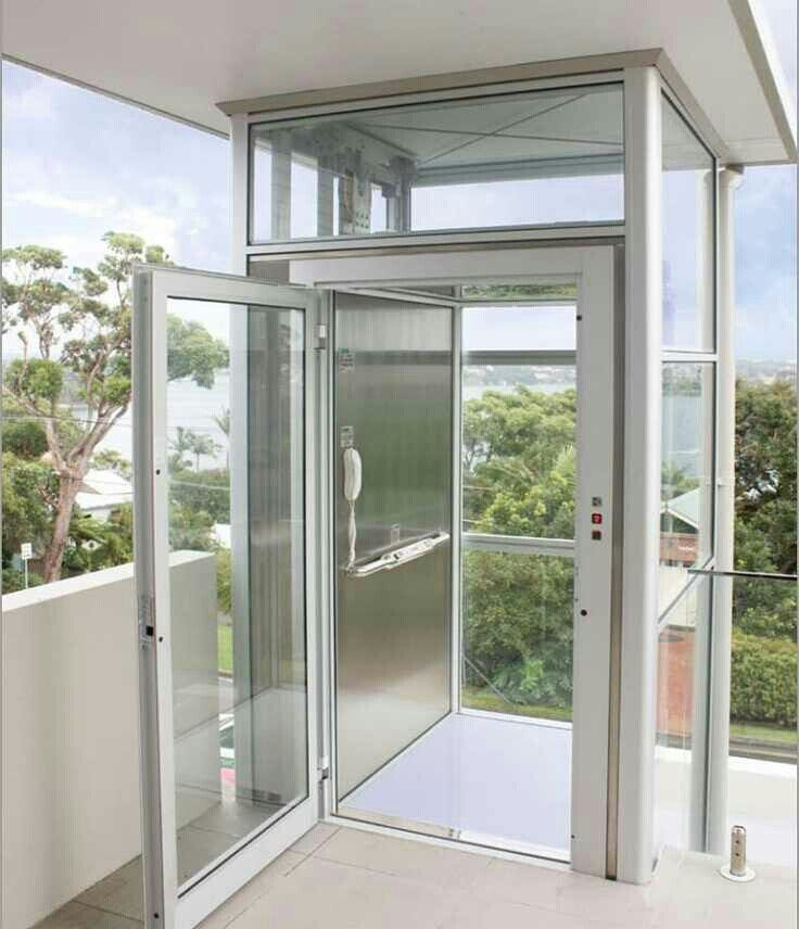 Glass landing door elevator asansor estetik asansor for Home elevators direct