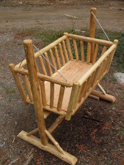 Gentil Swinging Log Baby Cradle!