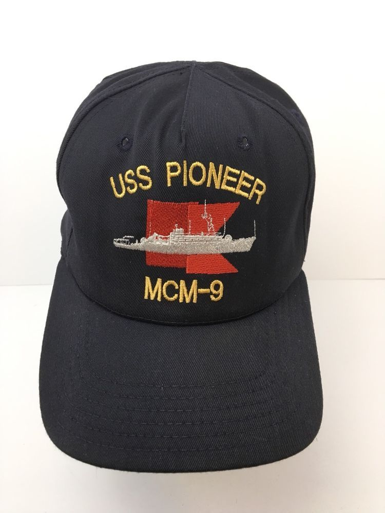 79787029c6c63 Vintage Hat USS Pioneer Ship MCM-9 Blue Made In The USA Snapback Cotton Band