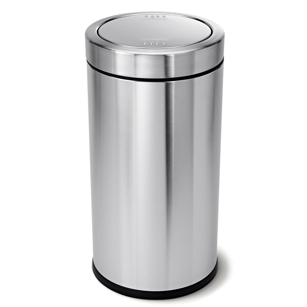Simplehuman 55 Liter Brushed Stainless Steel Swing Top Trash Can Cw1442 The Home Depot Kitchen Trash Cans Trash Can Simplehuman Stainless steel swing top trash can