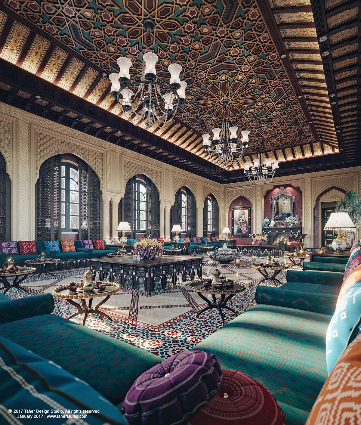 The Majlis By Taher Studio On Behance Arabian Decor Luxury Mansions Interior Arabic Decor