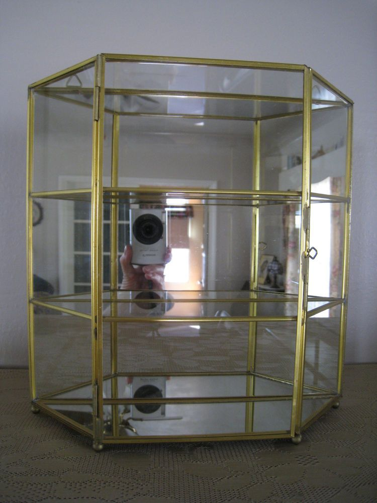 Details About Vintage Glass Amp Brass Display Case Curio
