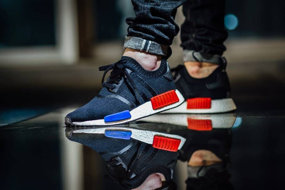adidas nmd r1 red on feet