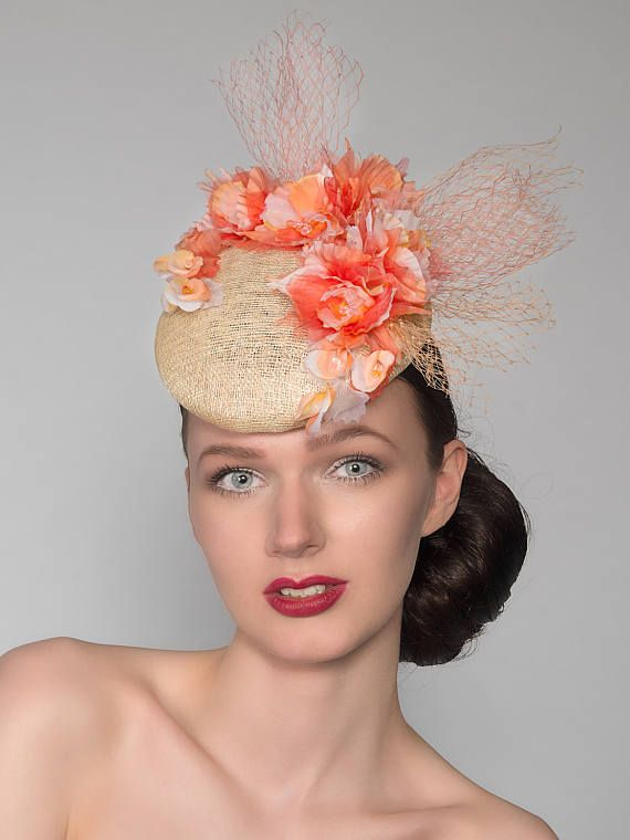 Coral, Peach, Ivory Natural Silk Orchids Floral Headpiece Fascinator Ascot Derby Hat Nina FG2104 Mother of the Bride Wedding Spring Racing