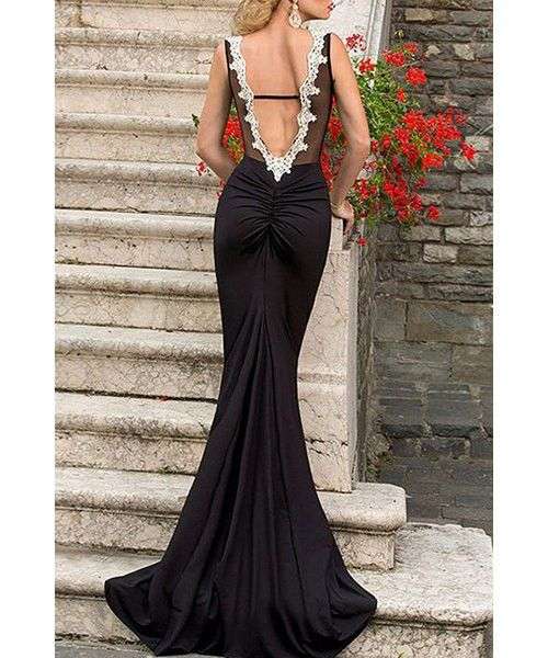 Sexy Round Neck Lace Embroidered See Through Open Back Sleeveless Maxi Fashion World LA