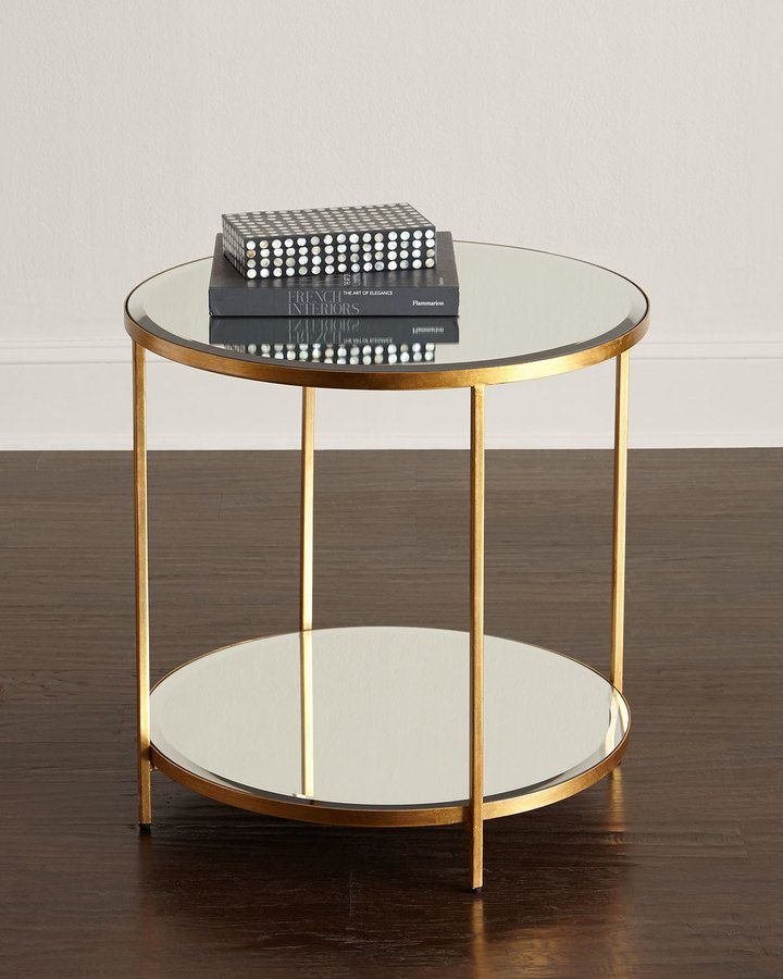 Interlude Nolan Two Tiered Side Table Coffee Table Marble Round