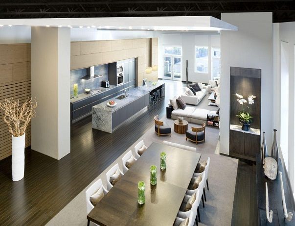 Modern Contemporary Home Design Of Boston Loft House Dining Space Between Kitchen And Living