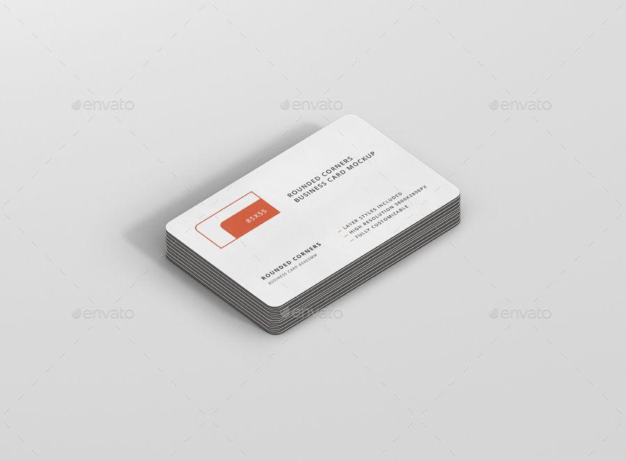 Business Card Mockup Bundle Stack Round Corners Affiliate Mockup