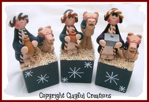 Becky's Polymer Clay 7 Piece Nativity por clayfulcreations en Etsy