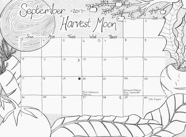 September 2017 Free Calendar Coloring Page