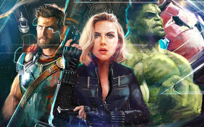 Download Wallpapers Hulk Black Widow Thor 2018 Movie Superheroes Avengers Infinity War Vingadores Thor Hulk