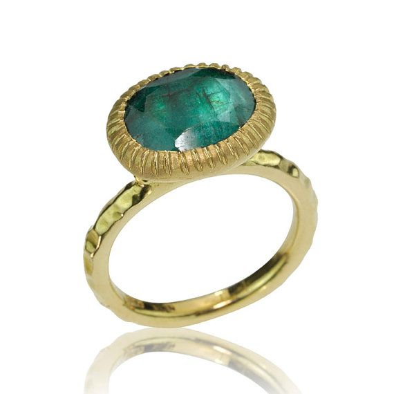 18k Gold Emerald Stone Ring by netawolpe on Etsy $1200 00