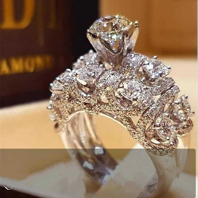 925 Filled Silver White Sapphire Crystal Gemstone Wedding Jewellery Rings Set