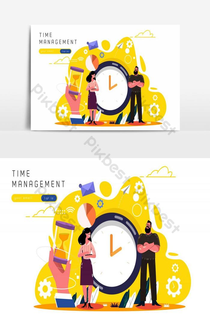 Time Management Working Human Icons Sketch In 2021 Human Icon Time Management Work Illustration Design