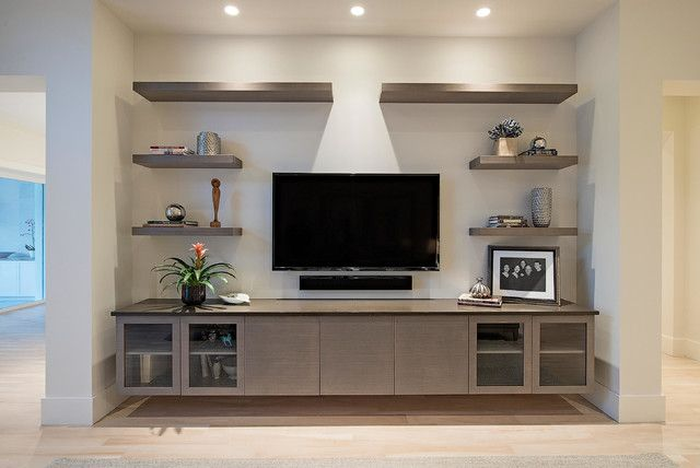 Simple Design Floating Shelves For Entertainment Center Well Suited Ideas  Contemporary Living Room | Family Room | Pinterest | Simple Designs, ...