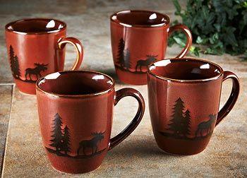 8223136801 Woodland Moose Mugs - Set/4 & 8223136801: Woodland Moose Mugs - Set/4 | Kitchen | Pinterest ...
