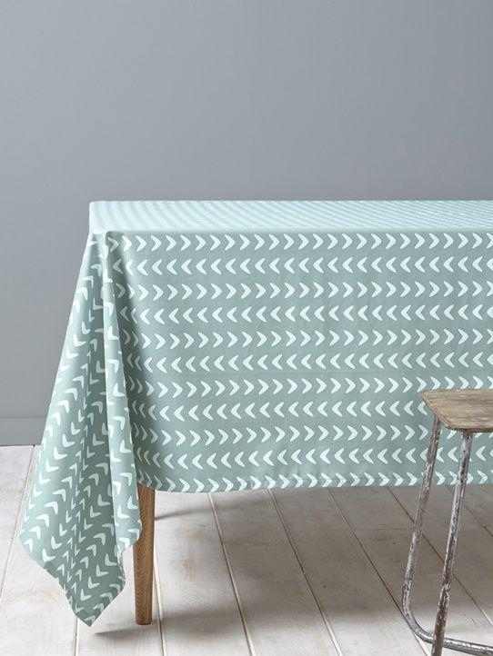 Tischdecke, Fischgrat, beschichtete Baumwolle - Blau/Fischgrat Ecru+