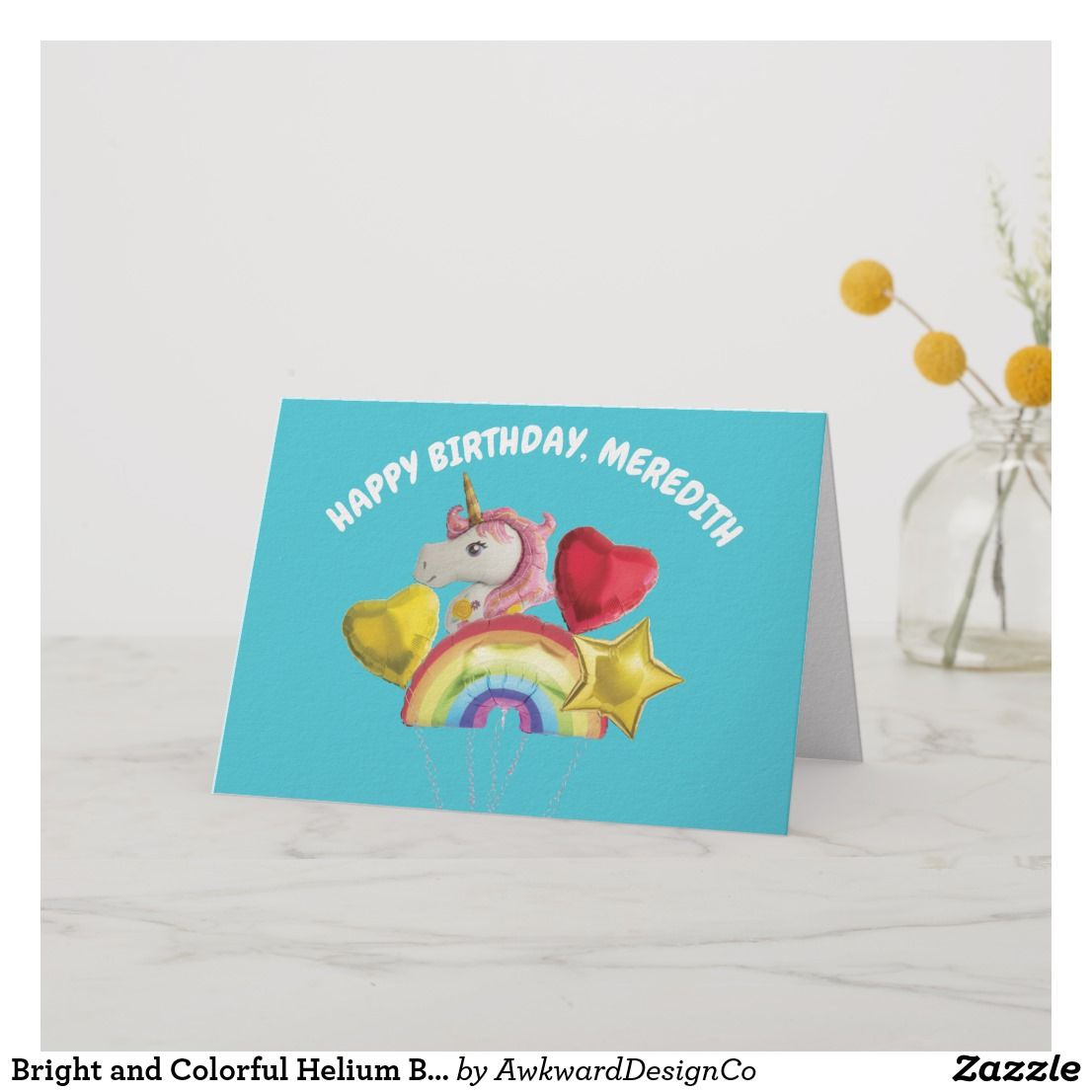 Bright And Colorful Helium Balloons Bunch Birthday Card Birthday