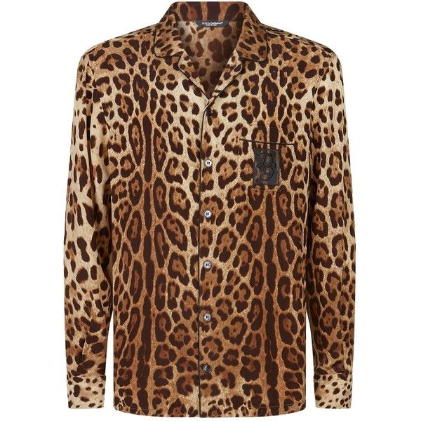 e8e6dc25 Men's Clothing · Dolce & Gabbana Leopard Print Silk Pyjama Shirt  ($1,050) ❤ liked on Polyvore