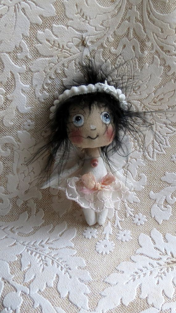 Tiny cloth Angel /Fairy doll with butterfly wings by suziehayward, $54.00