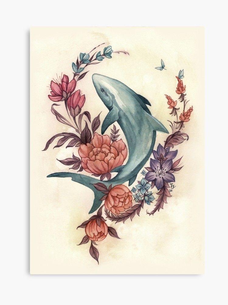 'Floral Shark' Canvas Print by fioski