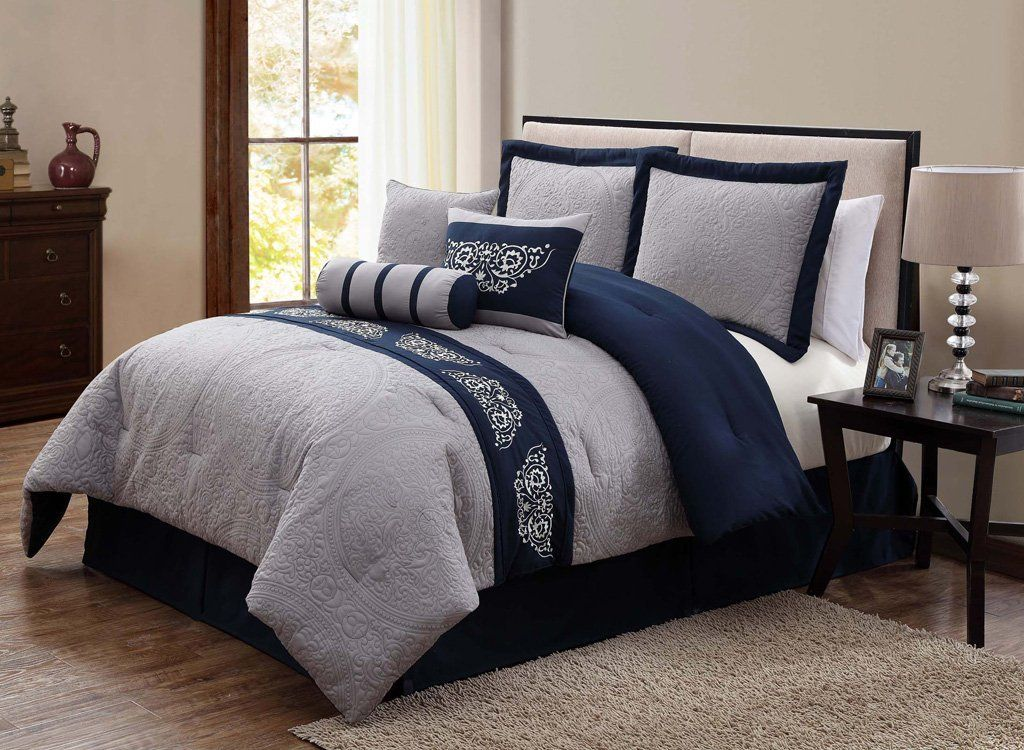 Charmant Navy Blue And Grey Comforter Set More