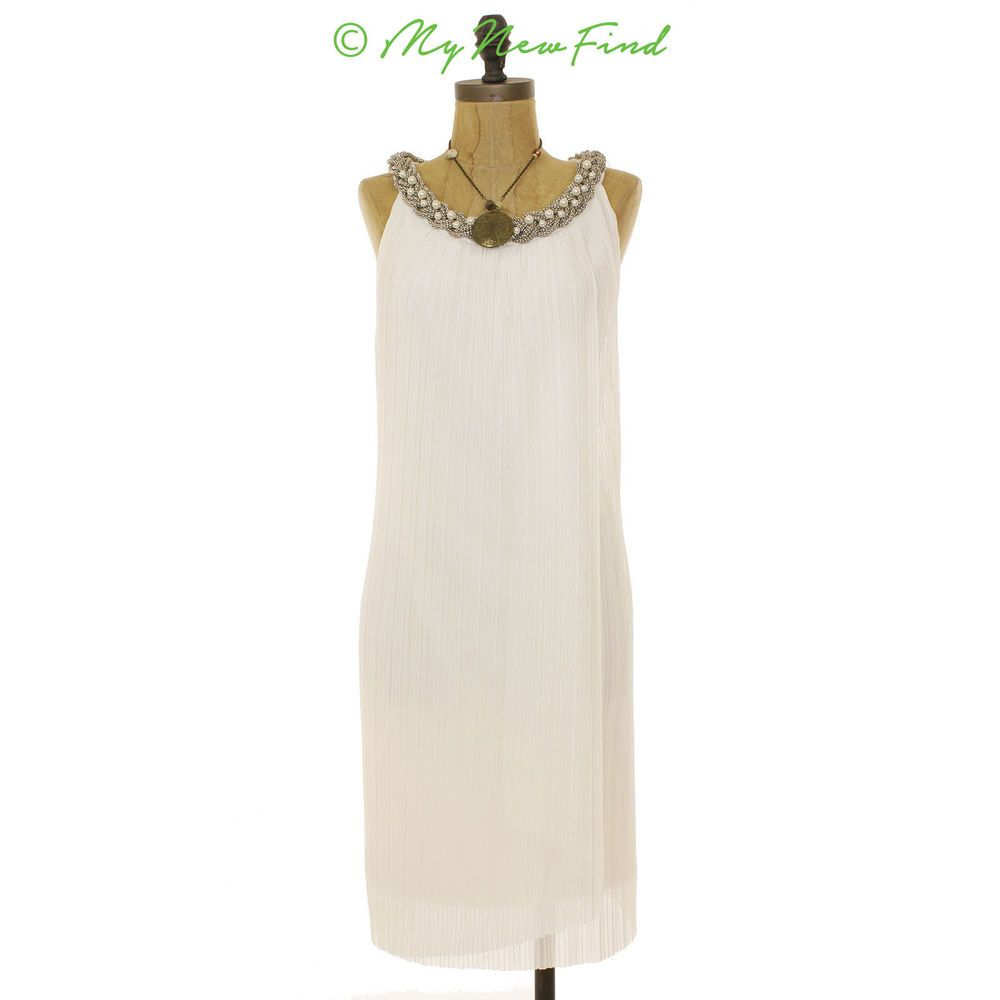 NWOT $148 DONNA RICCO EMBELLISHED NECK CHIFFON SHIFT DRESS IVORY 14 L B5 #DonnaRicco #Shift