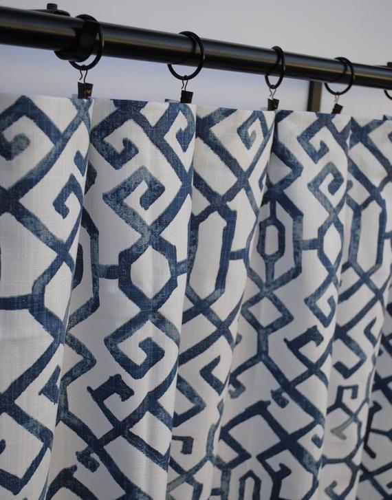 Shibori Curtains Navy Blue Curtains 2 Curtain Panels Blue Grey