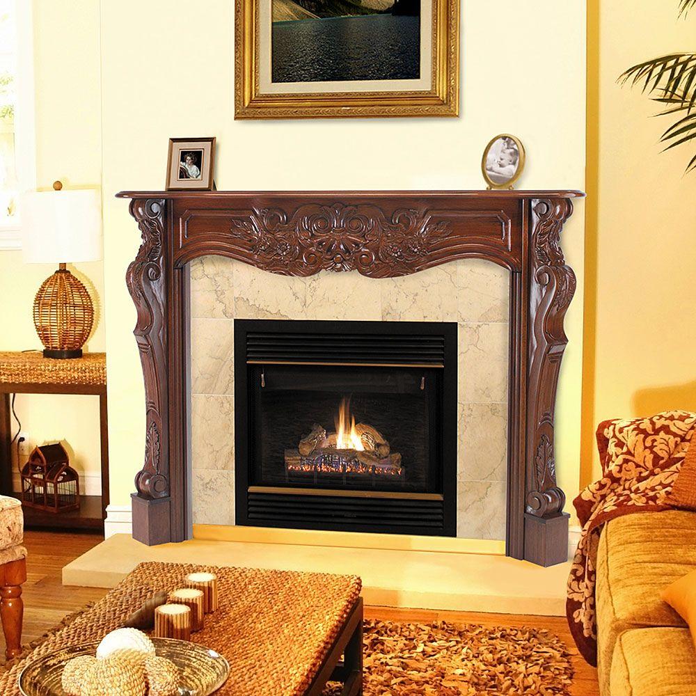 Fireplace mantel and Wood fireplace