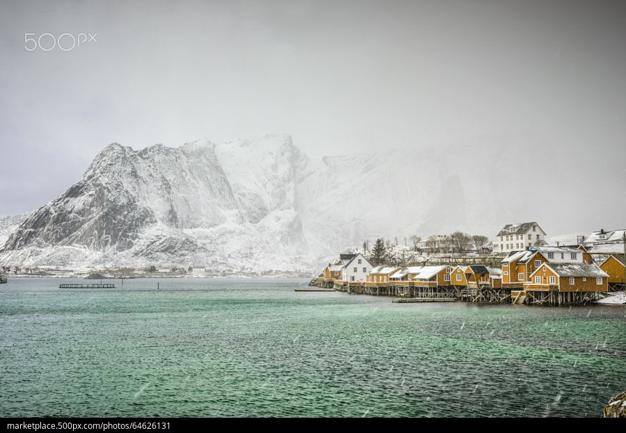 Emerald waters - during the snow storm - stock photo