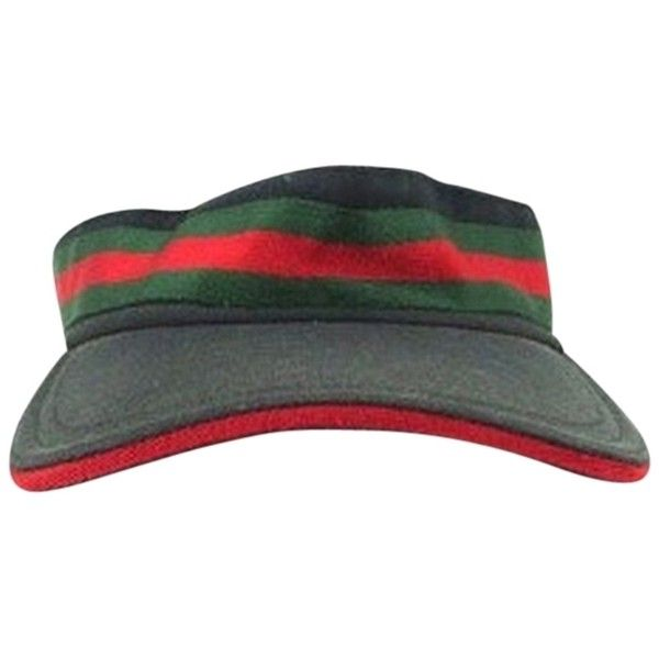 dd4b6a3523be4 Pre-owned Gucci Sun Visor Classic Green Red Strip Hat ( 188) ❤ liked on  Polyvore featuring accessories