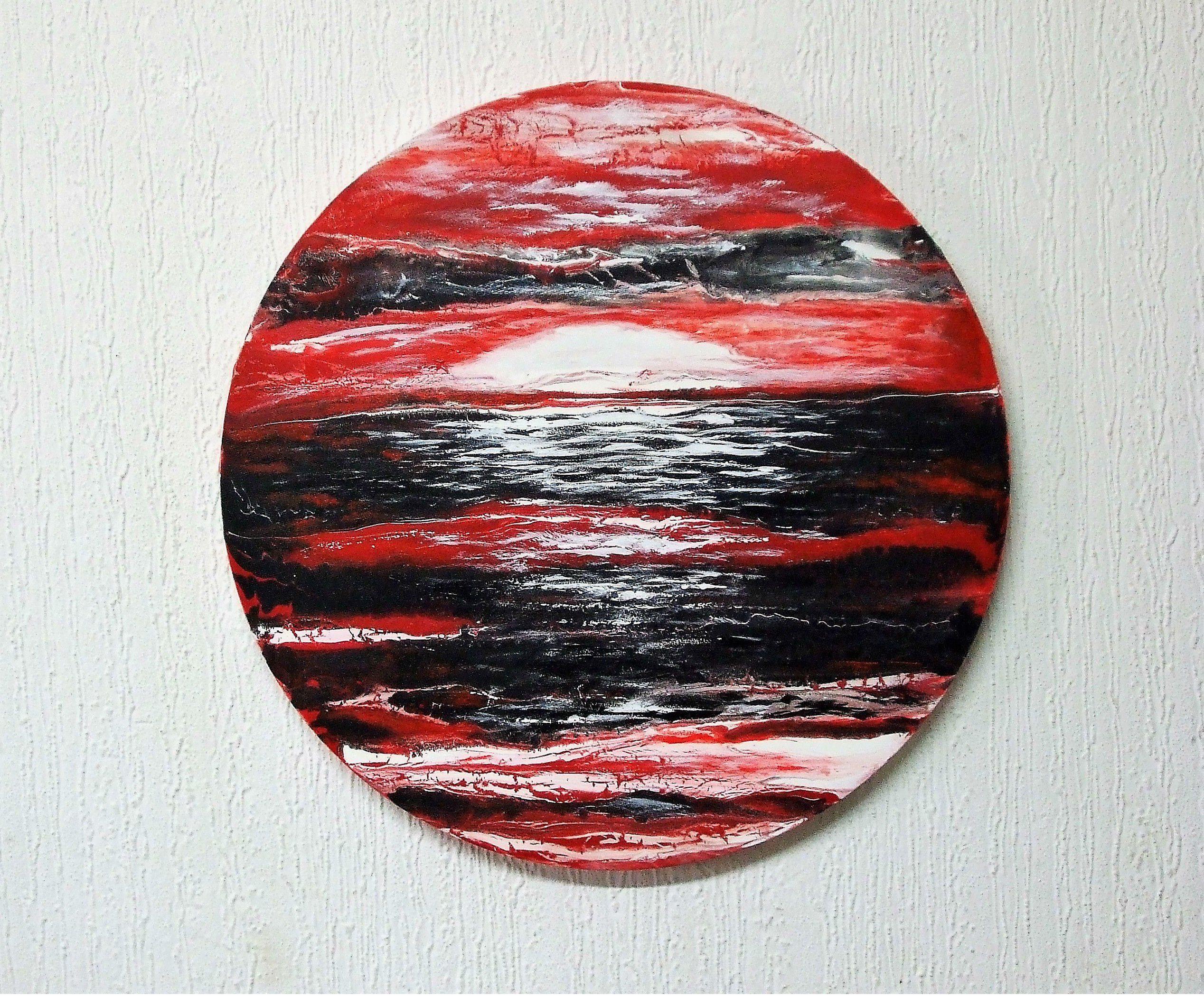 Acrylic original abstract painting circle wall decor red
