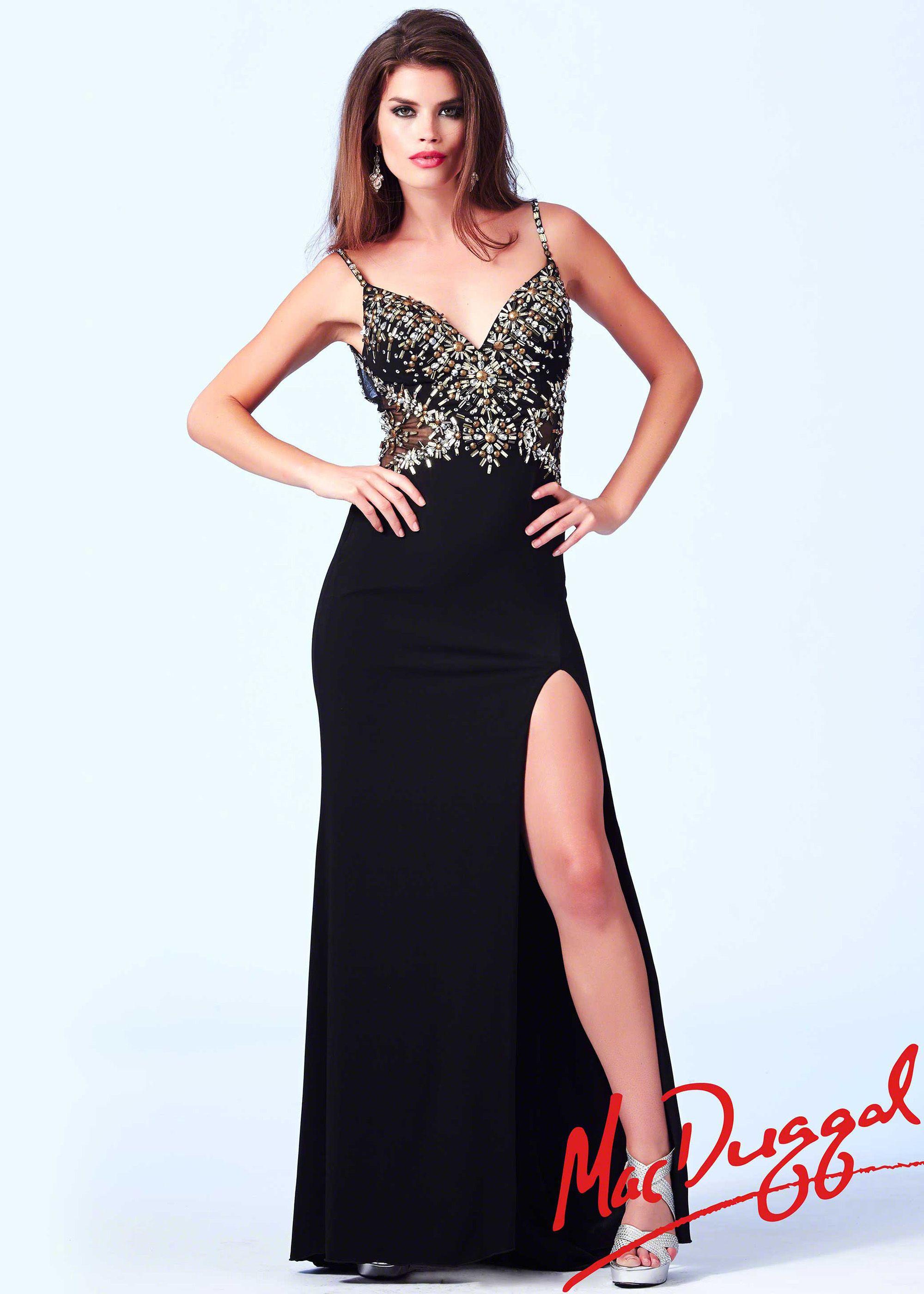 Mac Duggal 82040A - Black/Gold Beaded V-Neck Prom Dresses Online ...