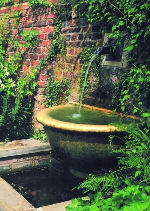 Small Garden Fountain: Wall Fountain Spilling Into Half-round Pool And Then Into