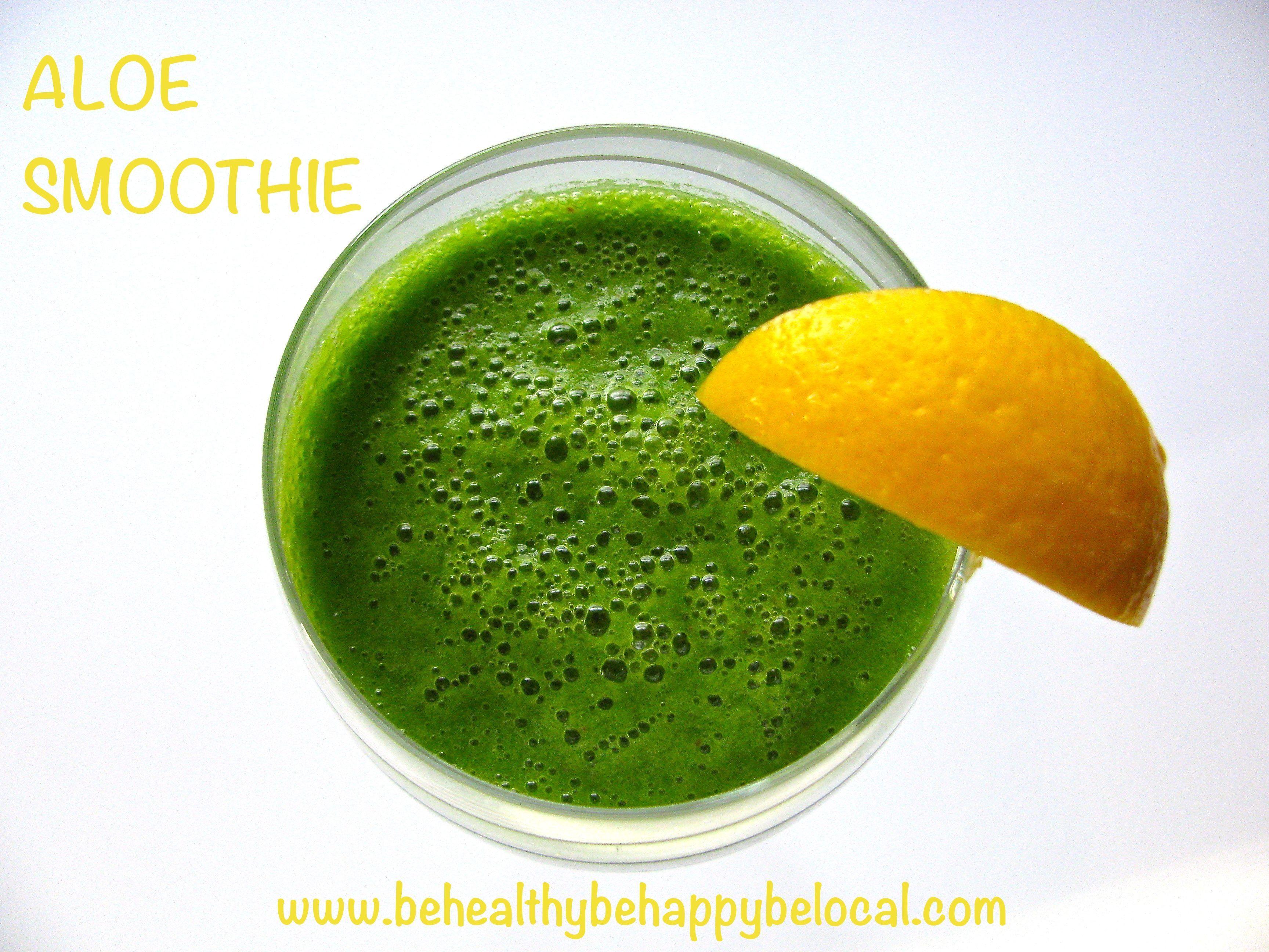 Delicious green smoothie with a special ingredient - Aloe! #food #recipe #greensmoothie #aloe  www.behealthybehappybelocal.com