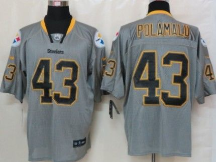 6cd1bd17426 Nike Pittsburgh Steelers  43 Troy Polamalu Lights Out Gray Elite Jersey