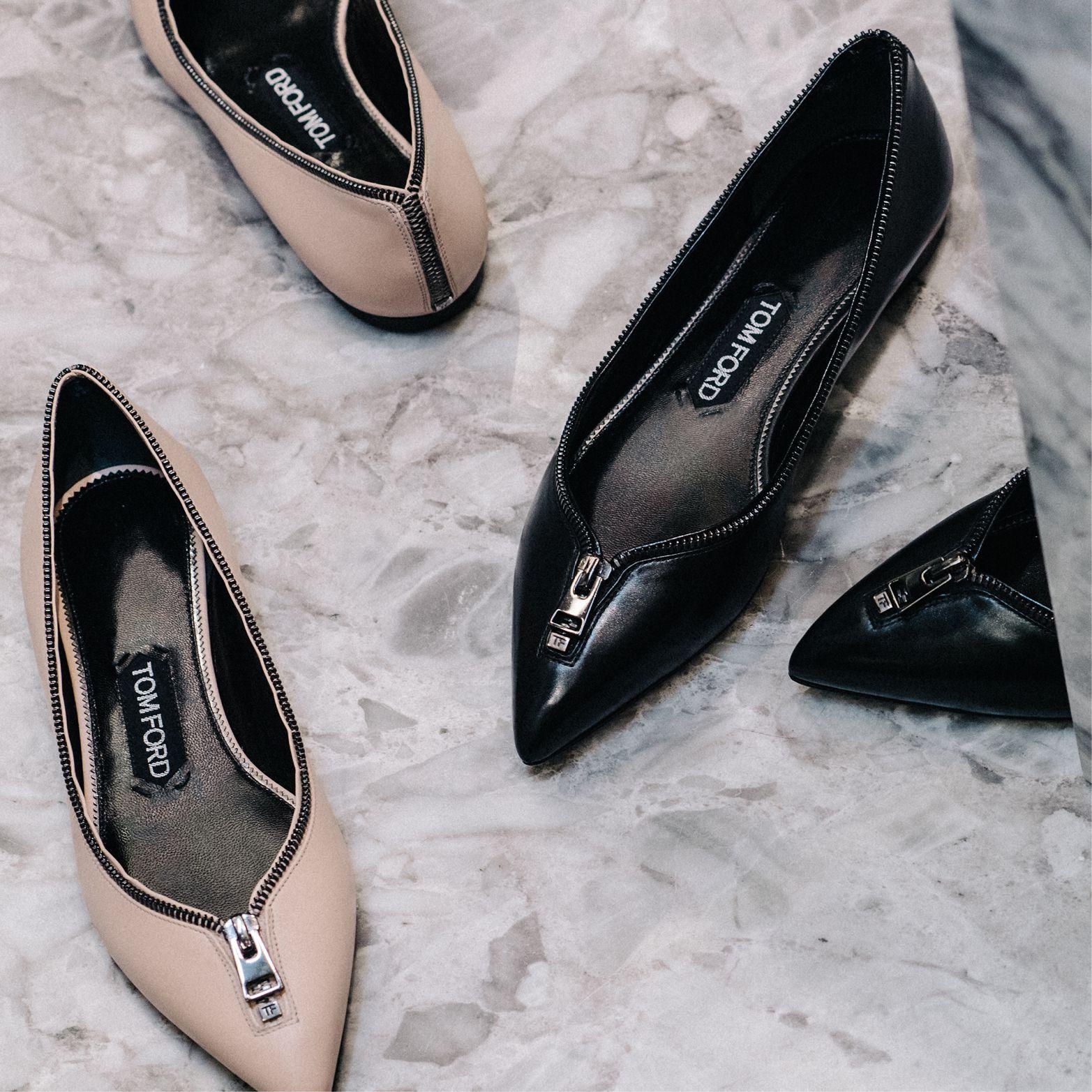 Slip into iconic TOM FORD Zip Ballerina Flats. #TOMFORD
