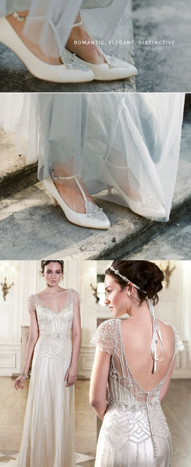 Gatsby and Vintage-inspired brides, these Annalise from Bella Belle will steal your heart. The beaded satin kitten heels with t-straps will be the finishing touch for your outfit. Speaking of outfit, what about this Maggie Sottero's Ettia Vintage dress? Glamour and romance through and through!