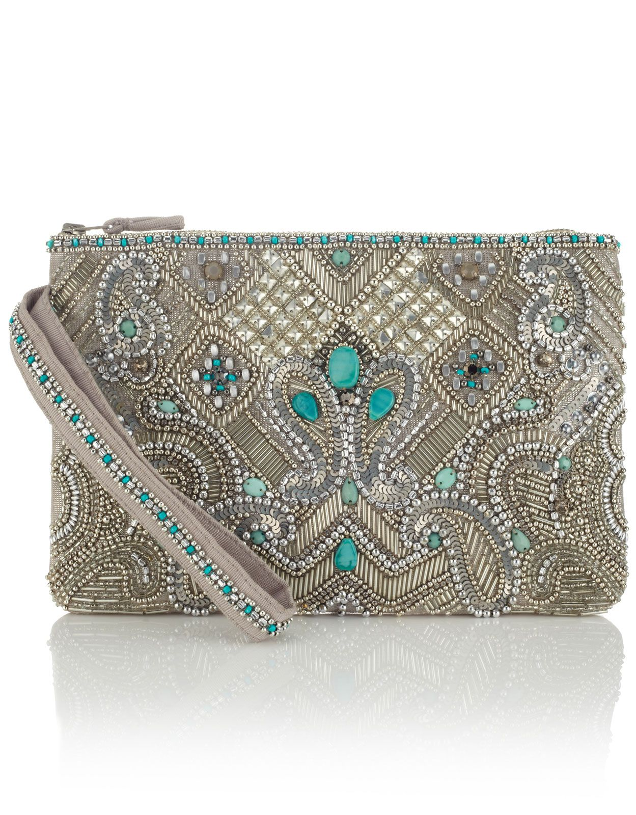 Essoueria Beaded Zip Top Clutch Bag | Silver