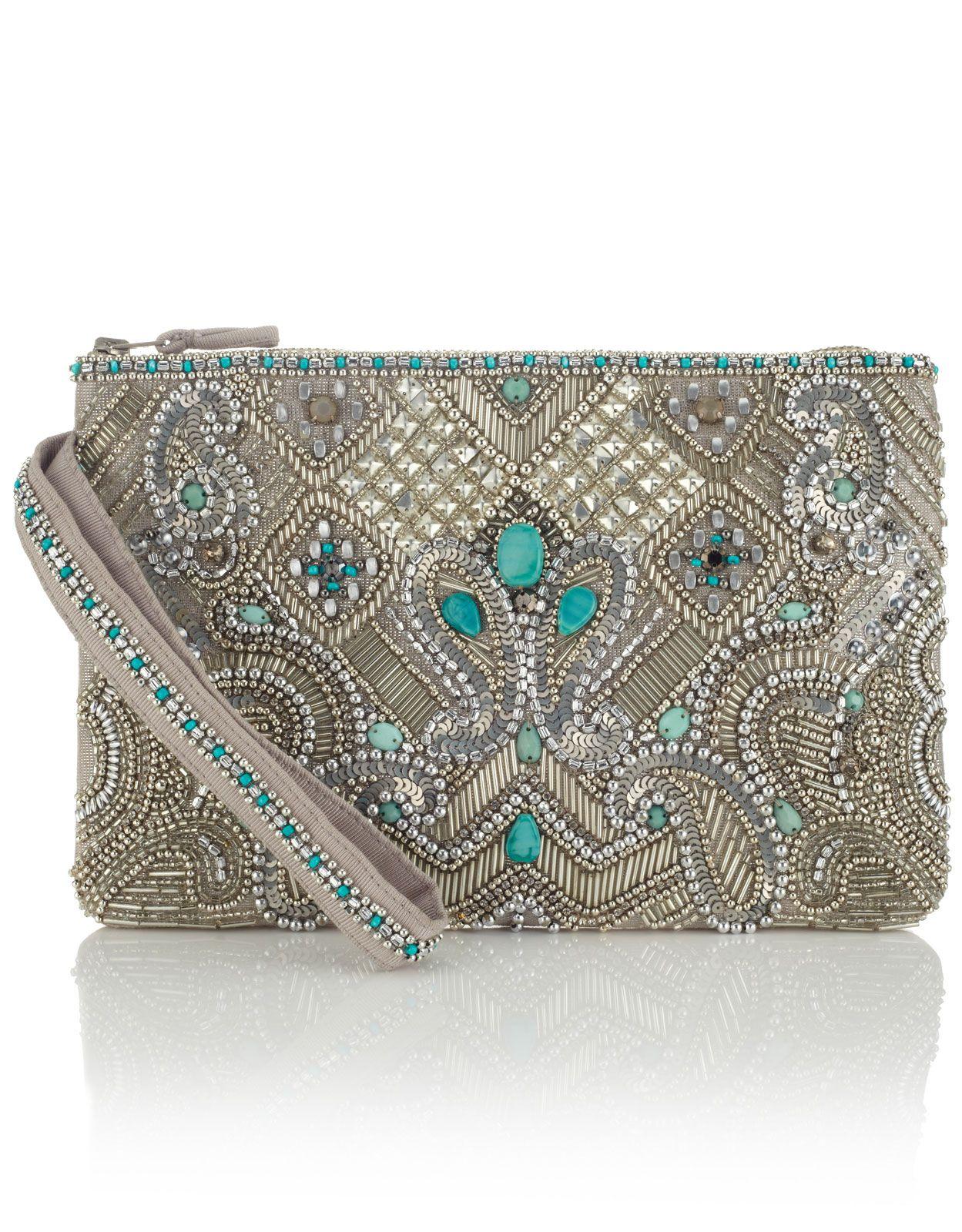 Essoueria Beaded Zip Top Clutch Bag Silver Accessorize