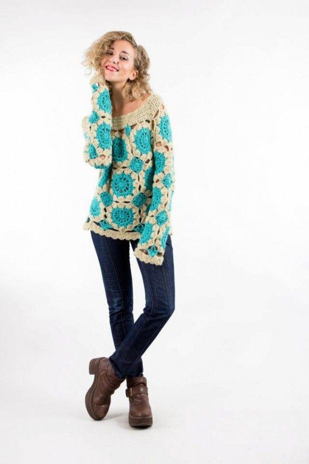 Sweater celeste - Crochet sweater w/ cream/turquoise granny squares ...