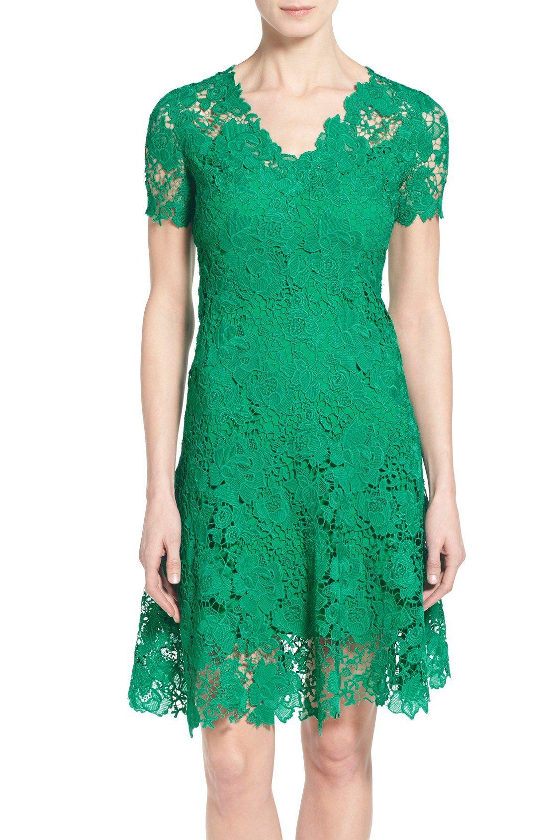 Tahari \'Samira\' Illusion Yoke Lace V-Neck Dress   accoutrement ...