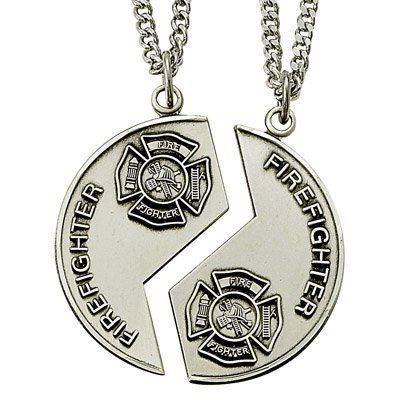 23256dd3244 Sterling Silver Firefighter Fireman Sweetheart Mizpah Medal Coin Pendant  Necklaces with Genesis 18 24 On Back- Half for him and half for her-18 inch  and 24 ...