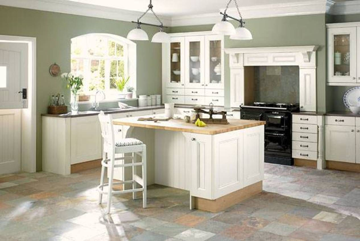 Decoration Minimalist Room Sage Green Paint Colors For Kitchens With White Cabinets And Island Butcher Block Countertop Travertine Flooring Also