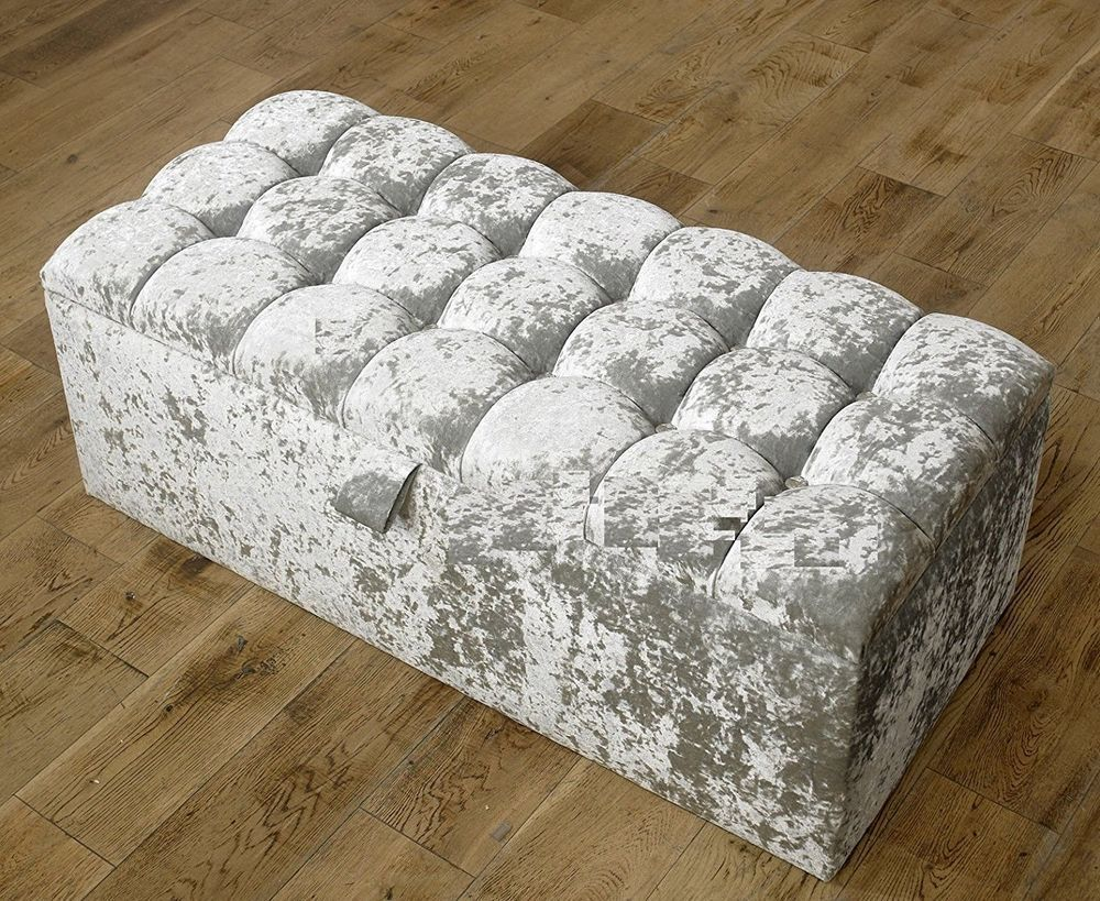 Amazing Large Silver Crushed Velvet Fabric Crystal Diamante Ottoman Ncnpc Chair Design For Home Ncnpcorg