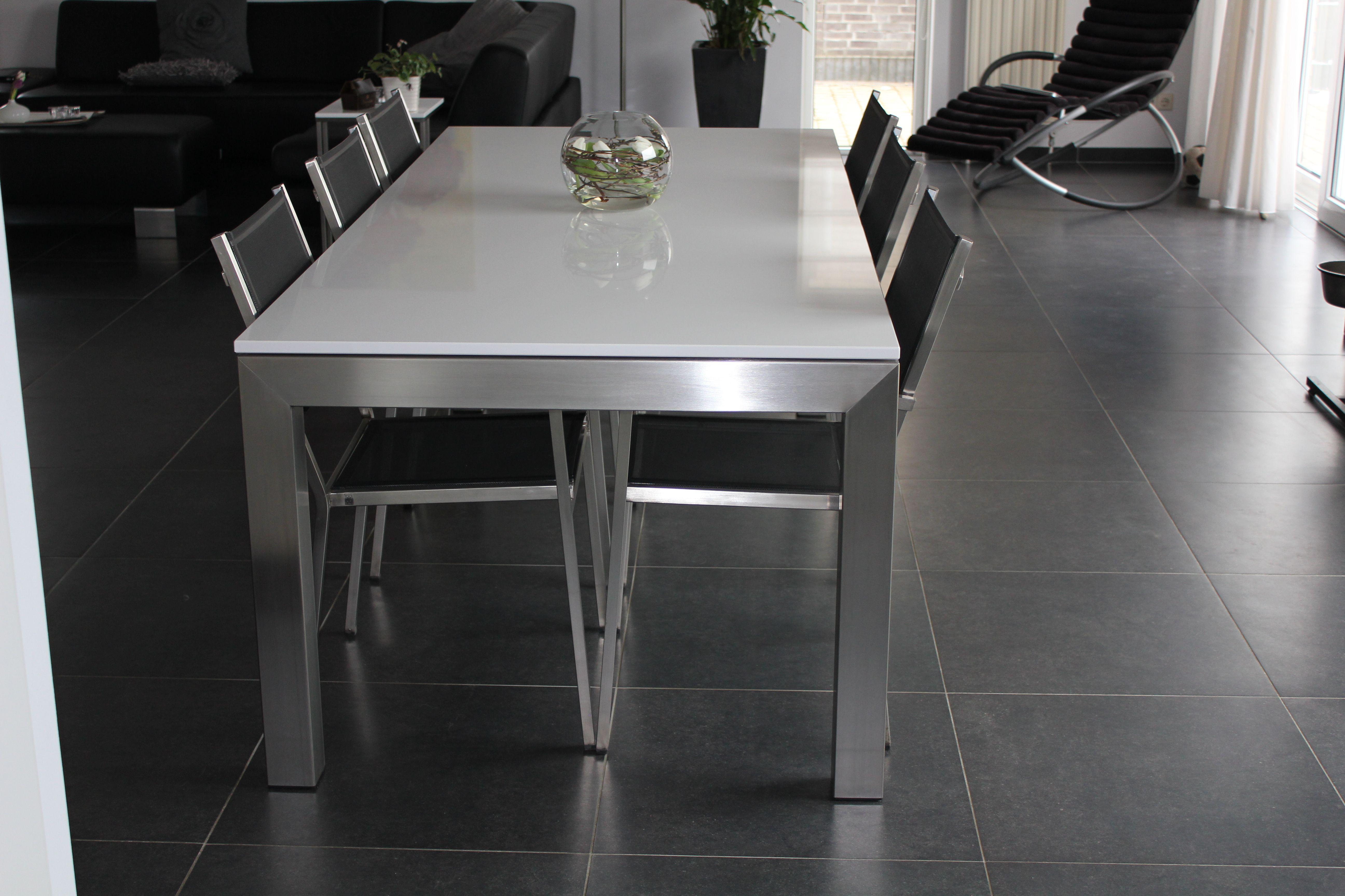 Glazen Rvs Tuintafel.Moderne Tafel Met Rvs Tafelpoten En Glazen Tafelblad
