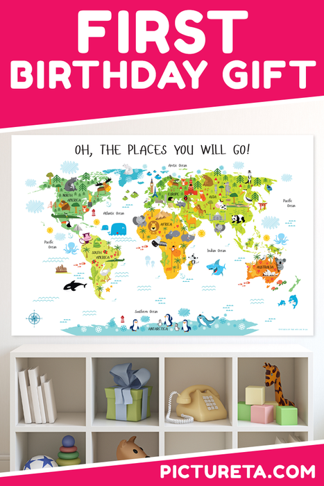 Kids World Map Playroom Wall Decor Nursery World Map World Map